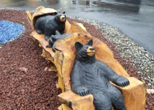 wood carving of bears